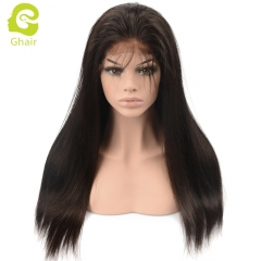 GHAIR Lace front wig pre-plucked straight virgin human hair glueless adjustable elastic band wig with baby hair
