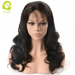 GHAIR Full lace wig pre-plucked body wave virgin human hair glueless adjustable elastic band wig with baby hair