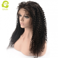 GHAIR pre-plucked full lace wig kinky curly virgin human hair glueless adjustable elastic band wig with baby hair