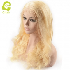 GHAIR pre-plucked full lace wig body wave 613# virgin human hair glueless adjustable elastic band wig with baby hair