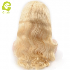 GHAIR pre-plucked lace front wig body wave 613# virgin human hair adjustable elastic band wig with baby hair