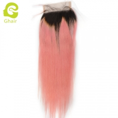 GHAIR 100% Virgin human hair straight 1b/pink# blonde 4*4 lace closure with baby hair