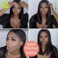 HOT SALE | GHAIR short bob style lace front wig straight virgin human hair glueless adjustable elastic band wig with baby hair