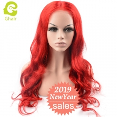 GHAIR New Arrival Mera Red hair 20 -26 inches Lace front wig body wave virgin human hair glueless wig with adjustable straps