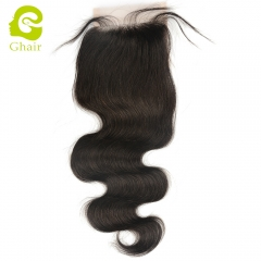 GHAIR 100% Virgin human hair body wave 1B# 4*4 transparent lace closure with baby hair