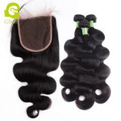 GHAIR 3 Bundles with 5*5 lace closure pre-plucked body wave virgin human hair
