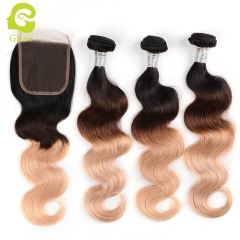 GHAIR 100% virgin human hair body wave 3 bundles with closure 1B/4/27# color