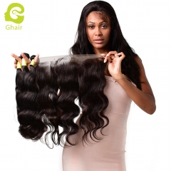 GHAIR Body wave 100% virgin human hair 3 bundles with 13x4 lace frontal pre-plucked