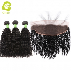 GHAIR 100% virgin human hair kinky curly 1B# 13*4  frontal and 3bundles for black women