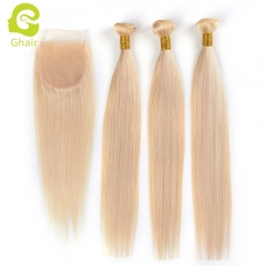 GHAIR 100% virgin human hair straight 3 bundles with closure 613# blonde color