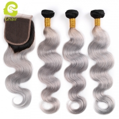 GHAIR 100% virgin human hair body wave 3 bundles with closure 1B/Grey# color