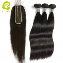 GHAIR 3 Bundles with 2*6 lace closure pre-plucked middle part straight wave virgin human hair