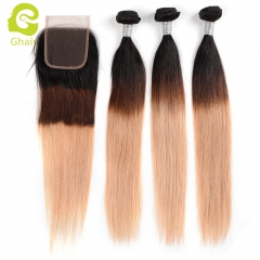 GHAIR 100% virgin human hair straight 3 bundles with closure 1B/4/27# color