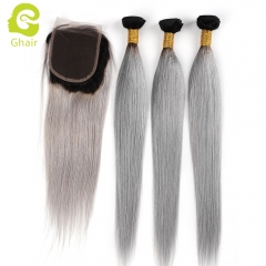 GHAIR 100% virgin human hair straight 3 bundles with closure 1B/Grey# color