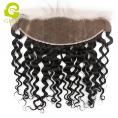 GHAIR 100% virgin human hair Italy curly 1B# 13*4 lace frontal with baby hair