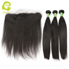 GHAIR Straight 100% virgin human hair 3 bundles with HD Swiss lace 13x4 frontal pre-plucked