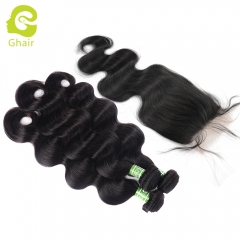 GHAIR body wave 100% virgin human hair 3 bundles with 4x4 transparent lace closure pre-plucked