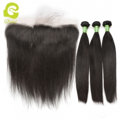 GHAIR Straight 100% virgin human hair 3 bundles with 13x4 transparent lace frontal pre-plucked
