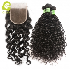 GHAIR Italy Curly 100% virgin human hair 3 bundles with 4x4 lace closure pre-plucked