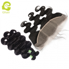 GHAIR body wave 100% virgin human hair 3 bundles with 13x4 transparent lace frontal pre-plucked