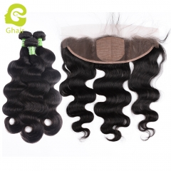 GHAIR body wave 100% virgin human hair 3 bundles with 13x4 silk base frontal pre-plucked
