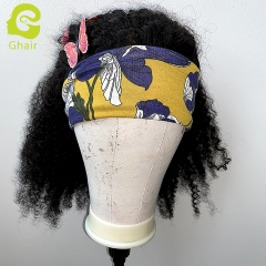 "9A+ Headband wig 180% density 1B# Afro Kinky 14""-24"" just wear and go wig"