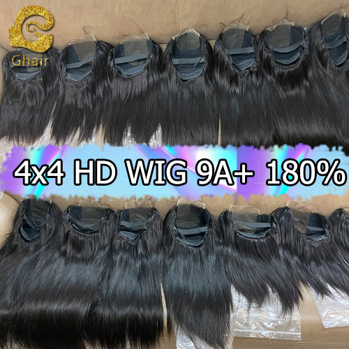 9A+ Invisible Super thin 4x4 HD Lace wig 180% density 1B# pre-plucked with baby hair