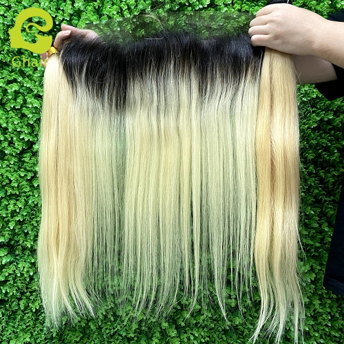 10A+100% virgin human hair straight 1B/613# 13*4 lace frontal golden blonde