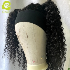 "9A+ Headband wig 180% density 1B# Jerry Curly 14""-24"" just wear and go wig"