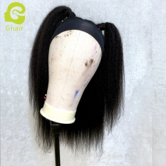 "9A+ Headband wig 180% density 1B# Kinky straight 14""-24"" just wear and go wig"