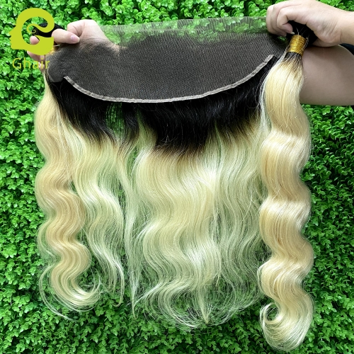 10A+100% virgin human hair body wave 1B/613# 13*4 lace frontal golden blonde