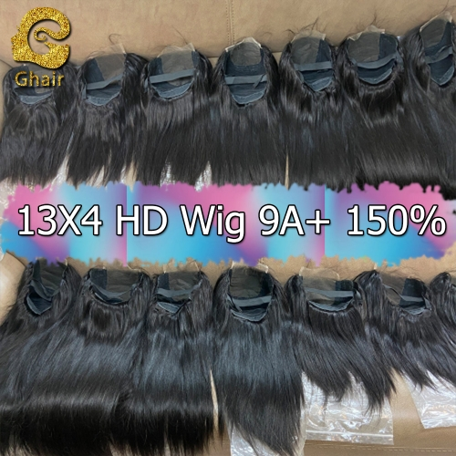 9A+ Invisible Super thin 13X4 HD Lace wig 150% density 1B# pre-plucked with baby hair