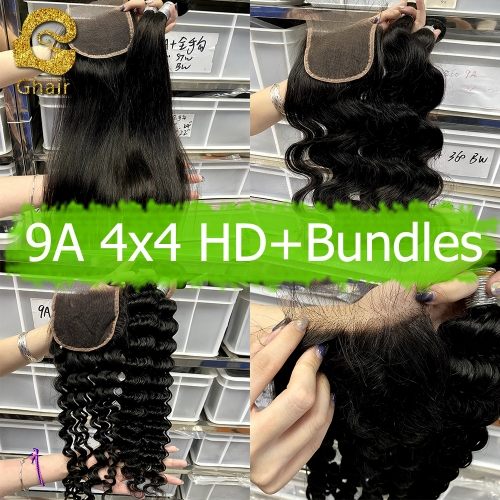 9A Remy hair bundles with HD 4*4 closure 1B#