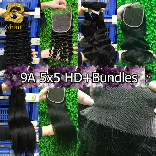 9A Remy hair bundles with HD 5*5 closure 1B#