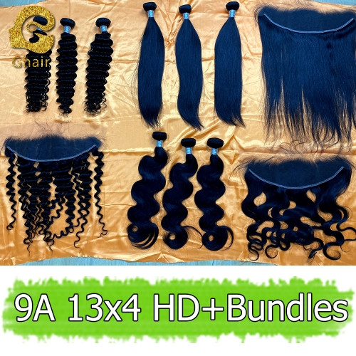 9A Remy hair bundles with HD 13*4 frontal 1B#
