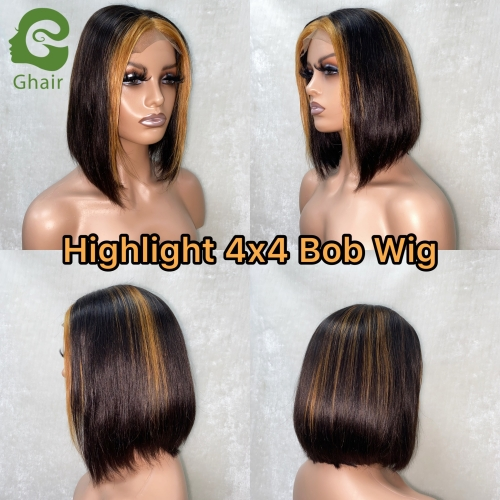 Ghair 9A+ Highlight 4x4 Bob Wig 8-12 Inch full 150% middle part straight virgin hair Short Bob wig