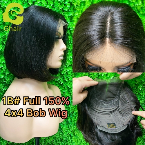 Ghair 9A 1B# 4x4 Bob Wig 8-12 Inch full 150% middle part straight virgin hair Short Bob wig