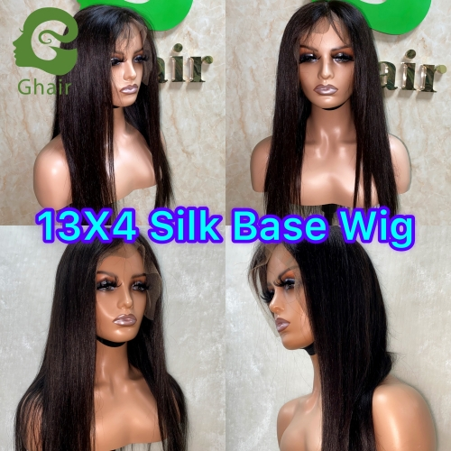 Ghair 9A  13x4 Silk Base Wig Human Hair 12-28 Inch full 150% free part straight virgin hair