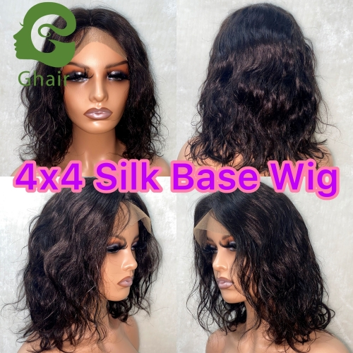 Ghair 9A  4x4 Silk Base Wig Human Hair 12-32 Inch full 150% free part straight virgin hair