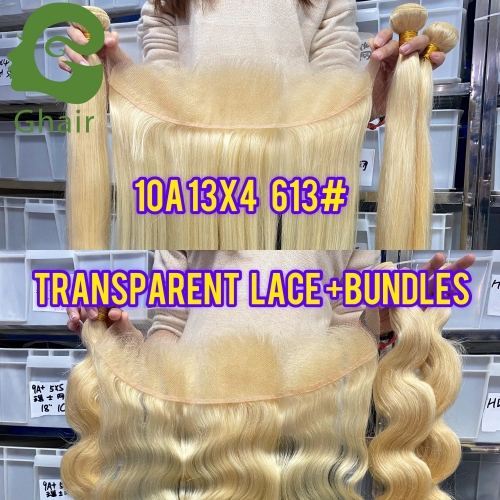 10A 13X4 Transparent Lace Frontal+Bundles 613# (Small Knots Ventilate in China)